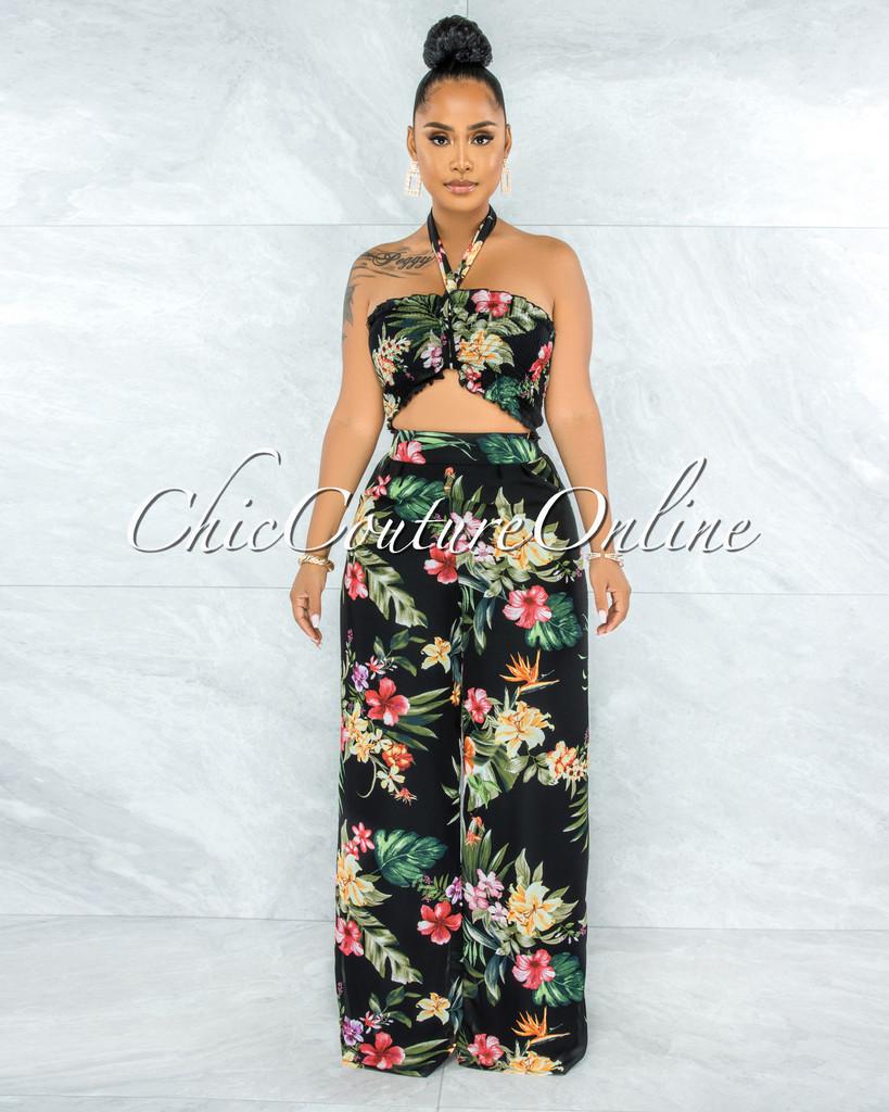 Ramya Black Floral Print Smocked Top Wide Pants Set