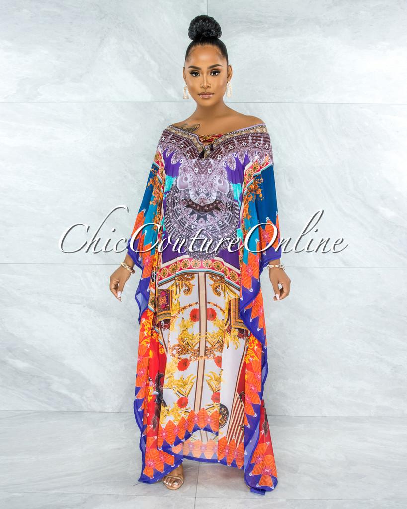 Zulia Purple Orange Print Kimono Maxi Dress