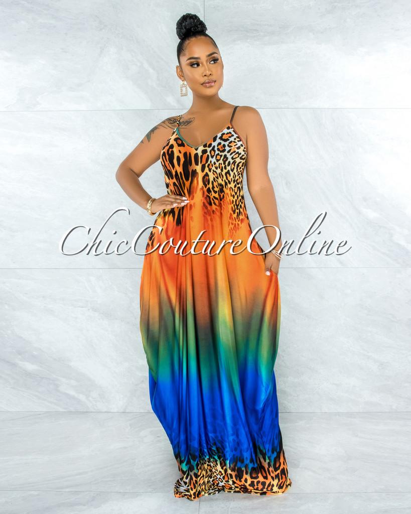 Firman Orange Blue Leopard Print Maxi Shirt Dress
