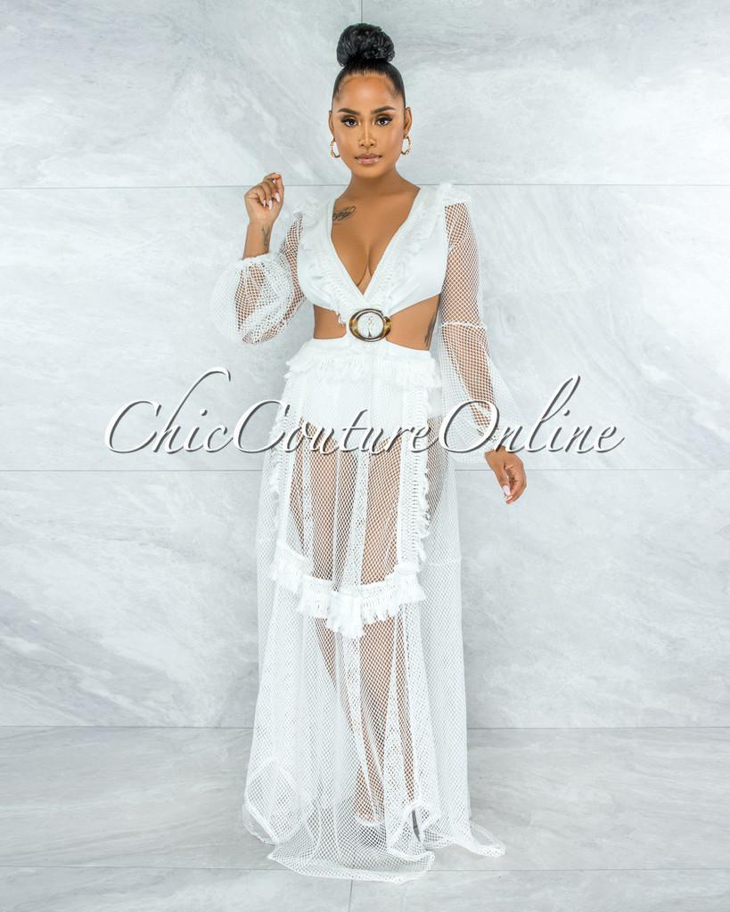 Louden Off-White Net Brown O-Ring Maxi Bodysuit Dress