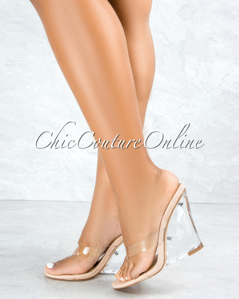 Frances Nude Sole Clear Upper Lucite Wedge