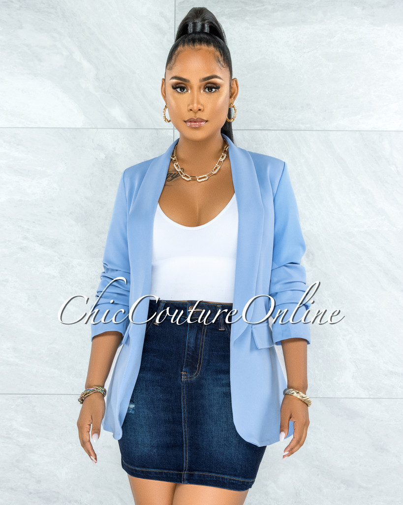 Stephanelle Baby Blue Boyfriend Long Blazer