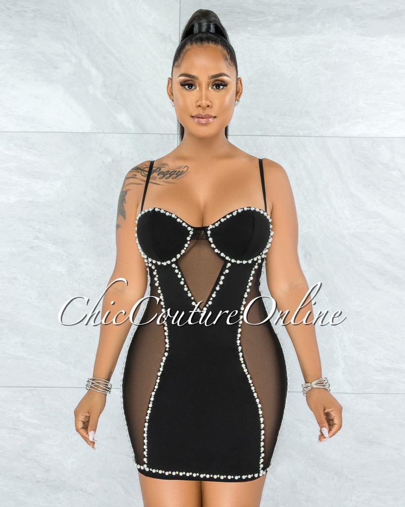 Dimitri Black Pearl Rhinestones Mesh Mini Dress