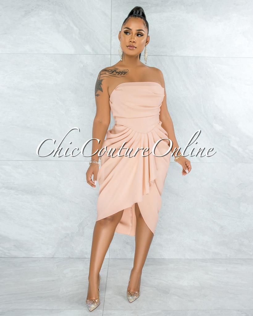 Donovian Nude Draped Hi-Lo Dress