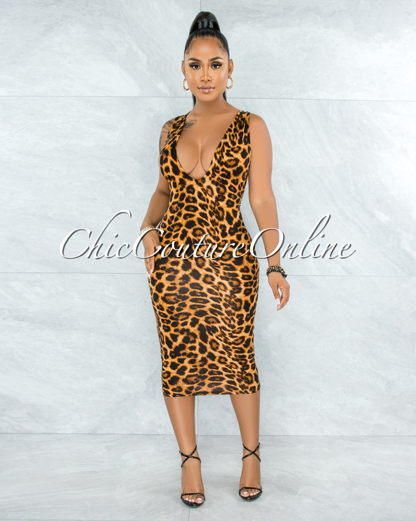 Adelma Brown Leopard Print Deep V Midi Dress