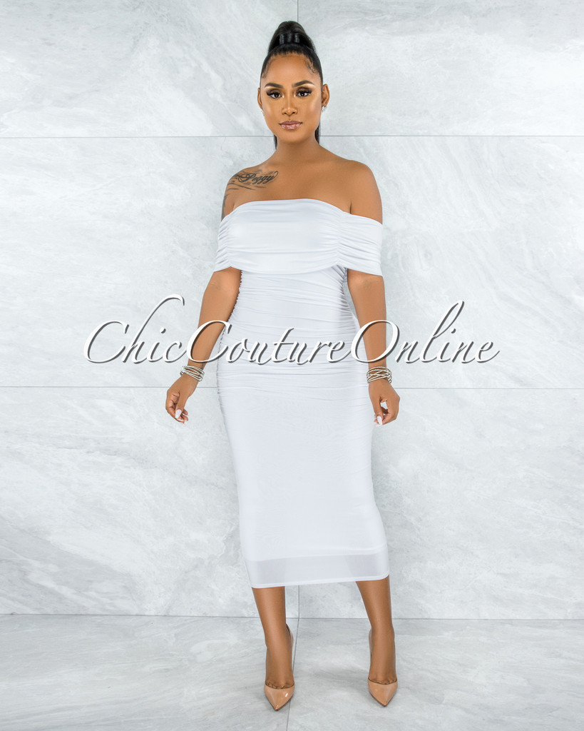 Belkis Off-White Ruched Off-The Shoulder Midi Dress