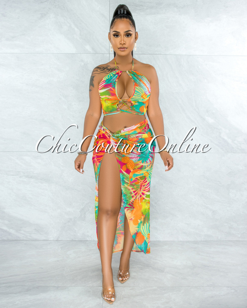 Cooper Multi Neon Print Front Lace-Up Top & Slit Skirt Sheer Set