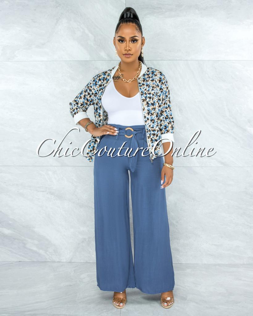 Lakosta Steel Blue Leopard Print Jacket & Paper Bag Pants Set