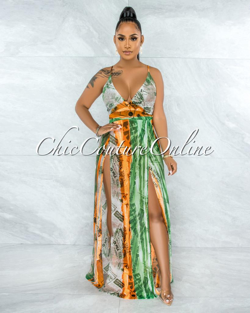 Bonaventure Green Orange Print Slit Legs Maxi Mesh Dress