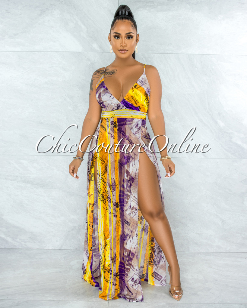 Bonaventure Purple Yellow Print Slit Legs Maxi Mesh Dress