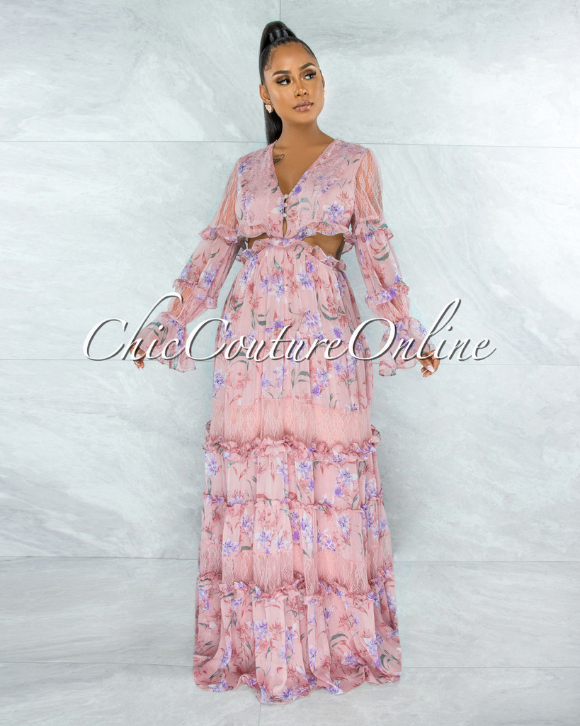 Mellen Mauve Floral Print Cut-Out Ruffle Lace Maxi Dress