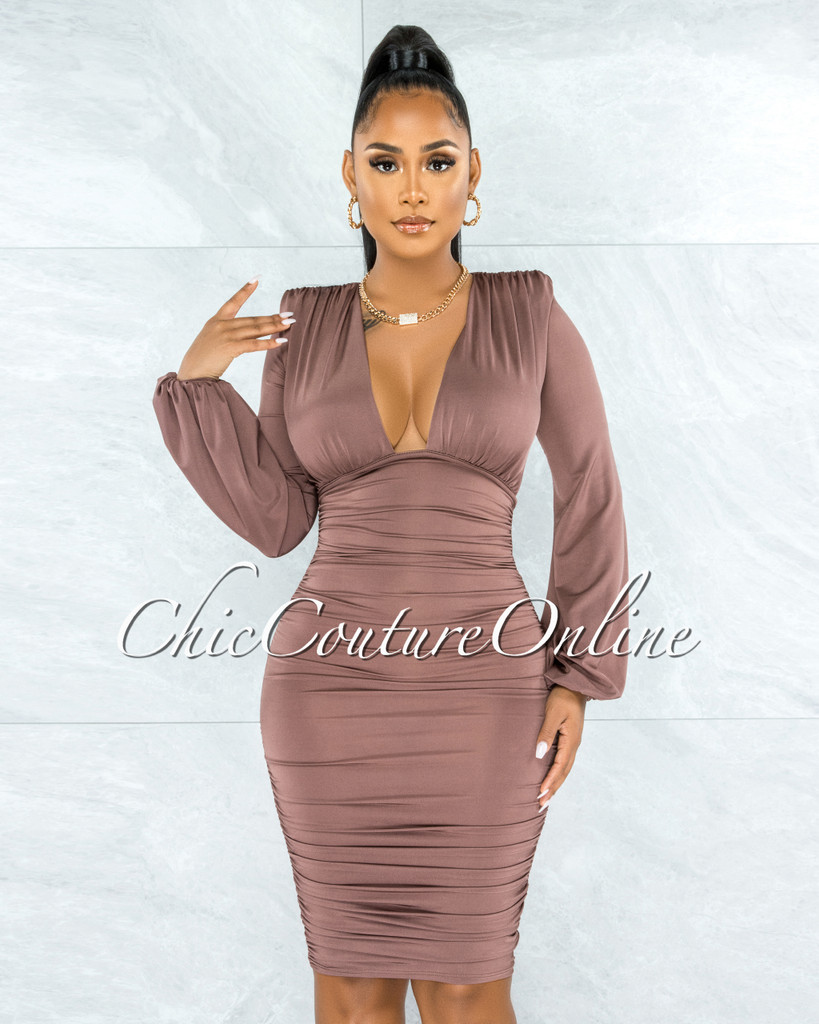 Veata Dark Mauve Ruched Sides Deep-V Neckline Midi Dress