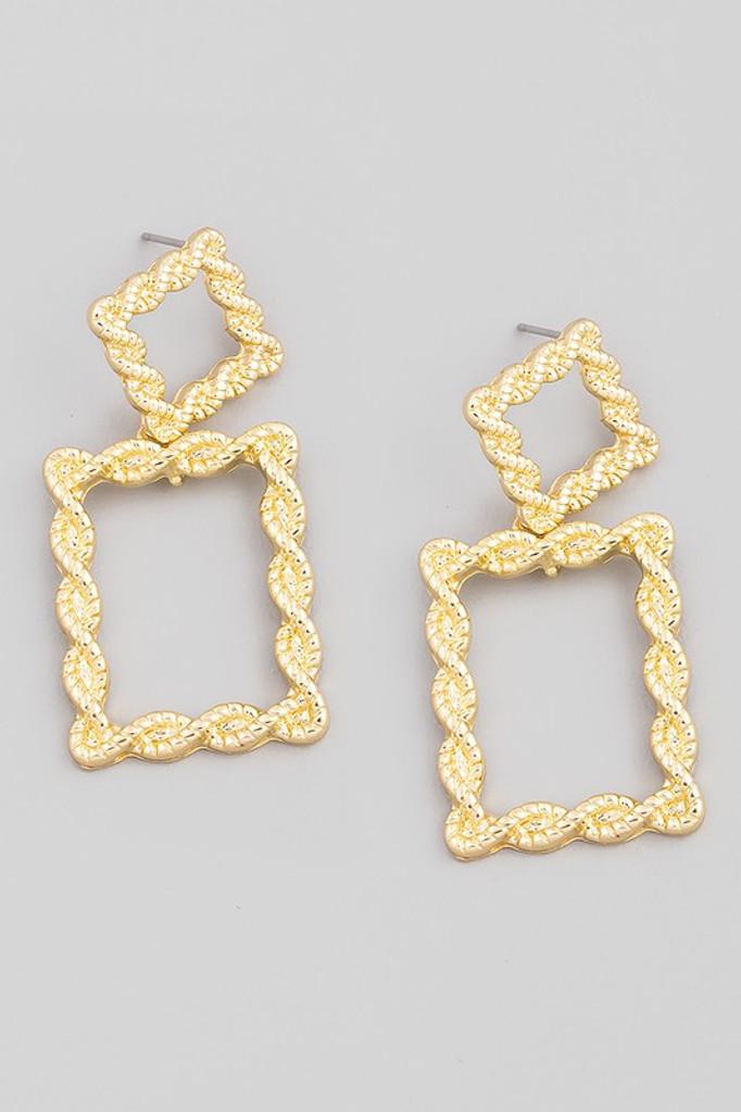Oyah Gold Rectangle Knot Drop Earrings