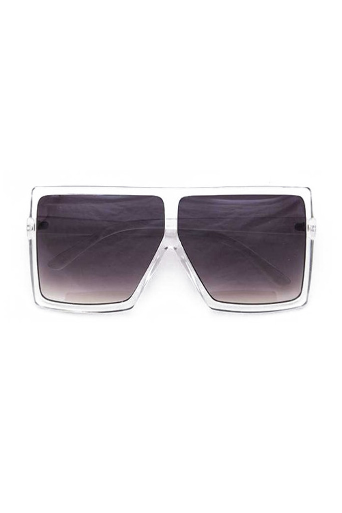 Stunna Clear Frame Gradient Lens Square Large Sunglasses