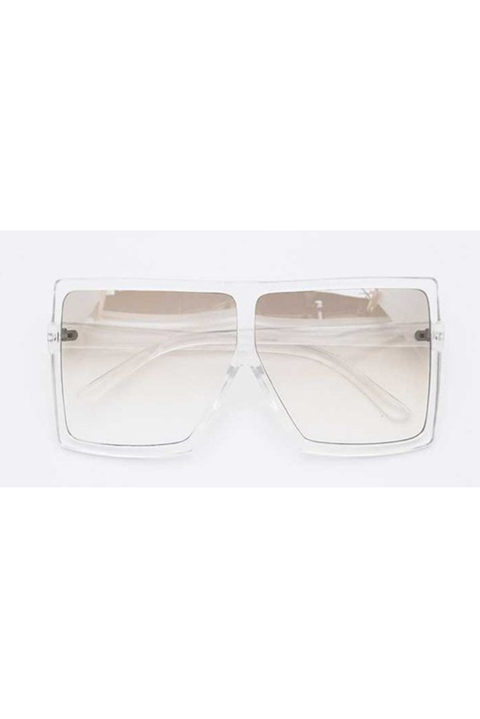 Stunna Clear Frame & Lens Square Large Sunglasses