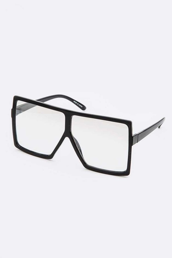 Stunna Black Frame & Clear Lens Square Large Sunglasses
