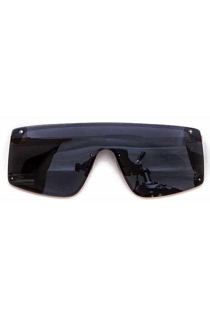 Ester Black Shield Inspired Statement Sunglasses