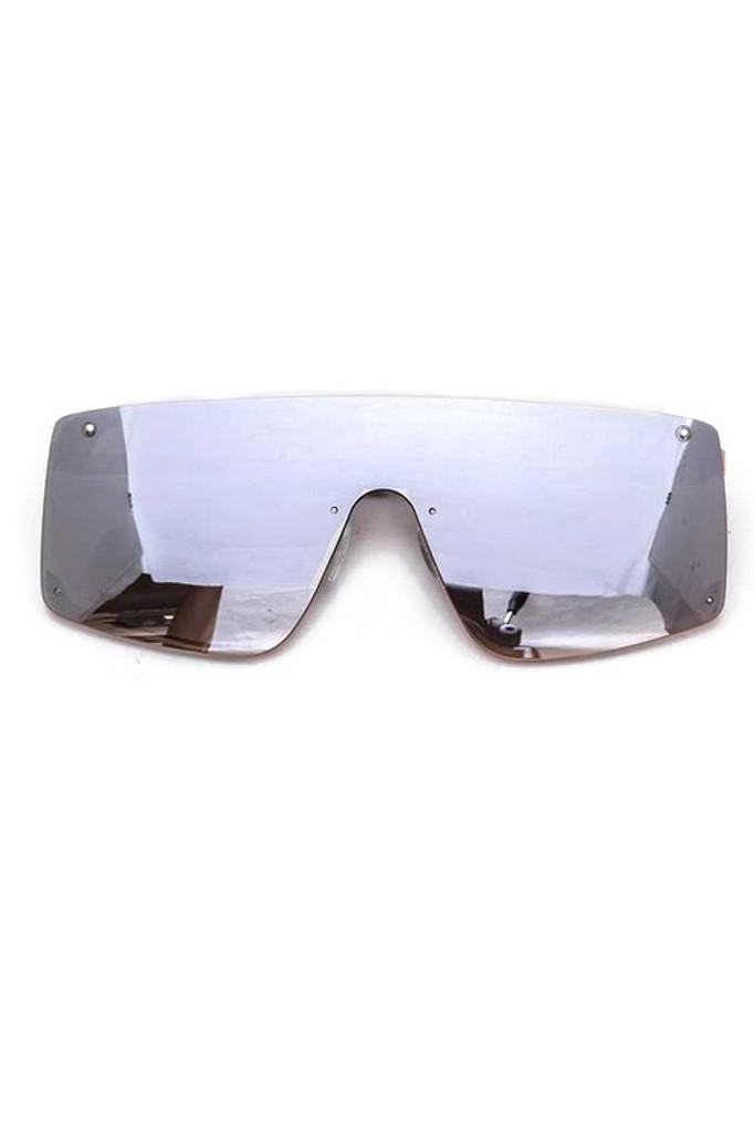 Ester Silver Shield Inspired Statement Sunglasses