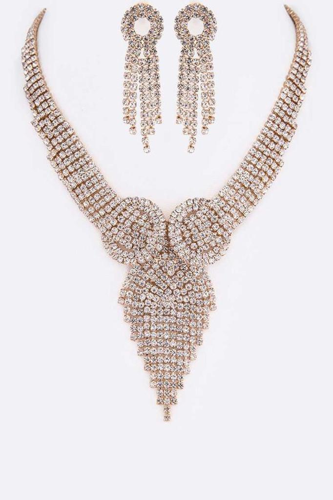 Sonny Gold Fringe Rhinestone Statement Necklace Set