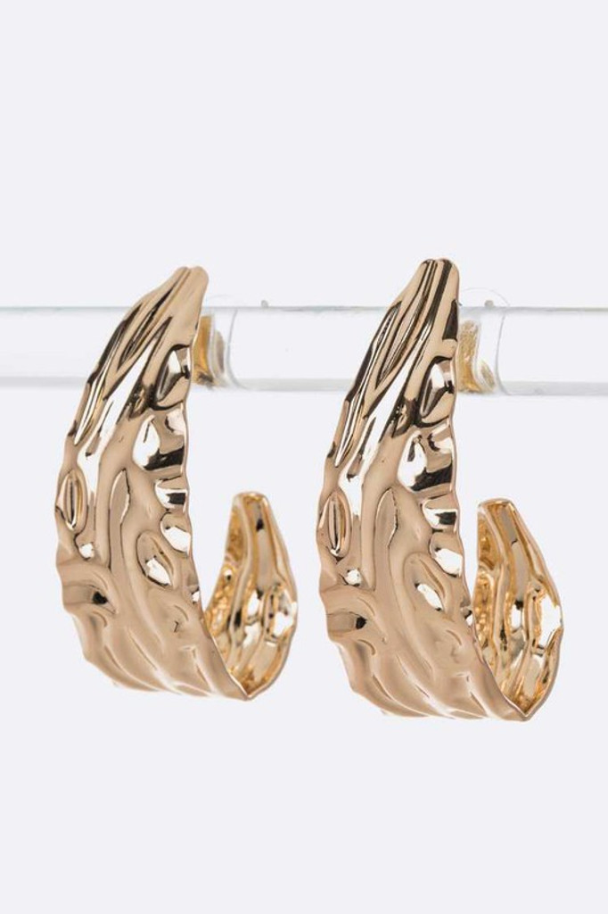 Katie Gold Texture Iconic Hoops