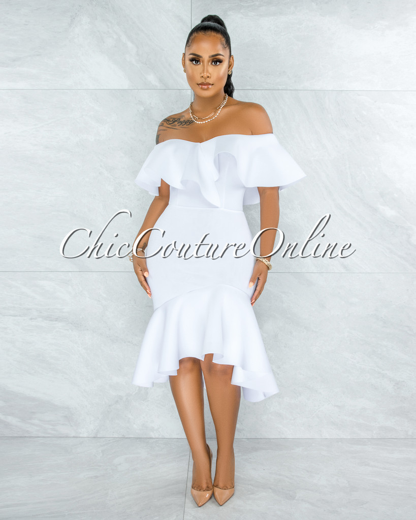 Thrista Off-White Ruffle Off-The-Shoulder Ponti Dress