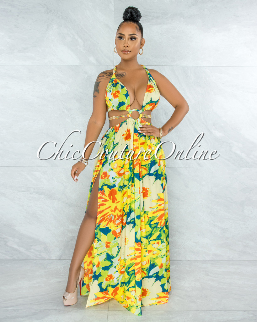 Latisha Green Yellow Print Cut-Out Sides Gold Link Dress