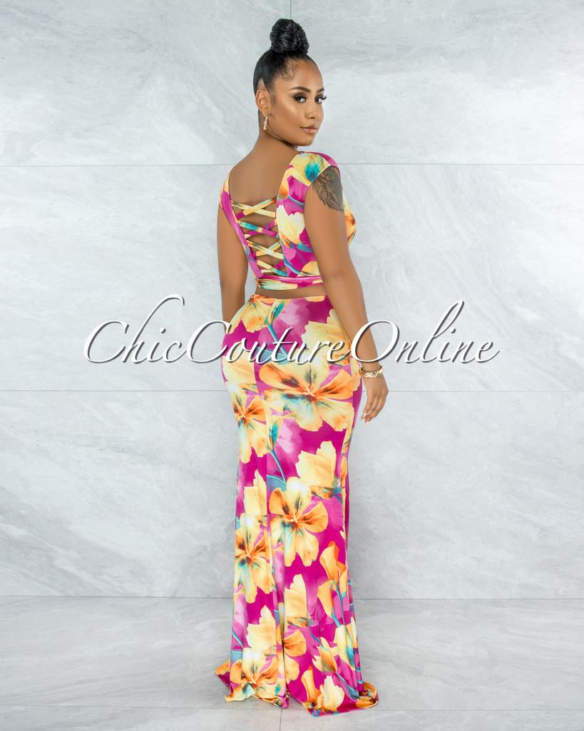 Nakita Fuchsia Yellow Floral Print Back Lace-Up Maxi Dress
