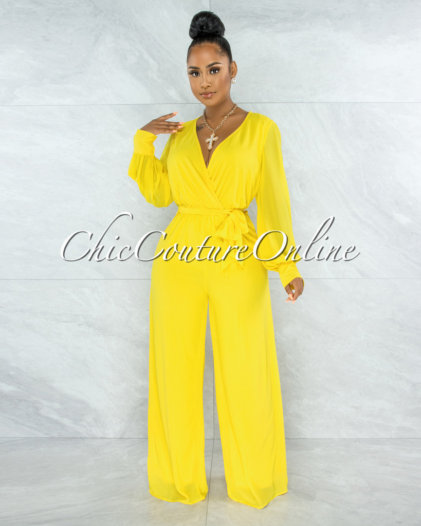 Yamie Yellow Faux Wrap Belted Long Sleeves Jumpsuit