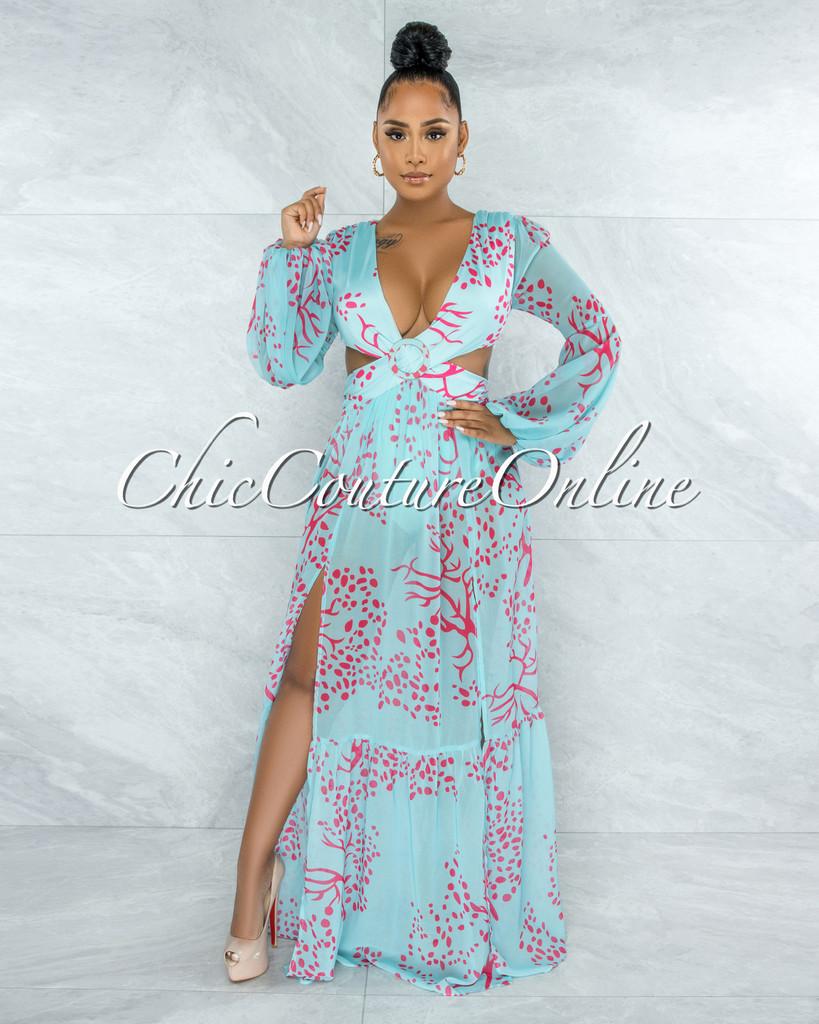 Mahona Aqua Fuchsia Print O-Ring Maxi Bodysuit Dress