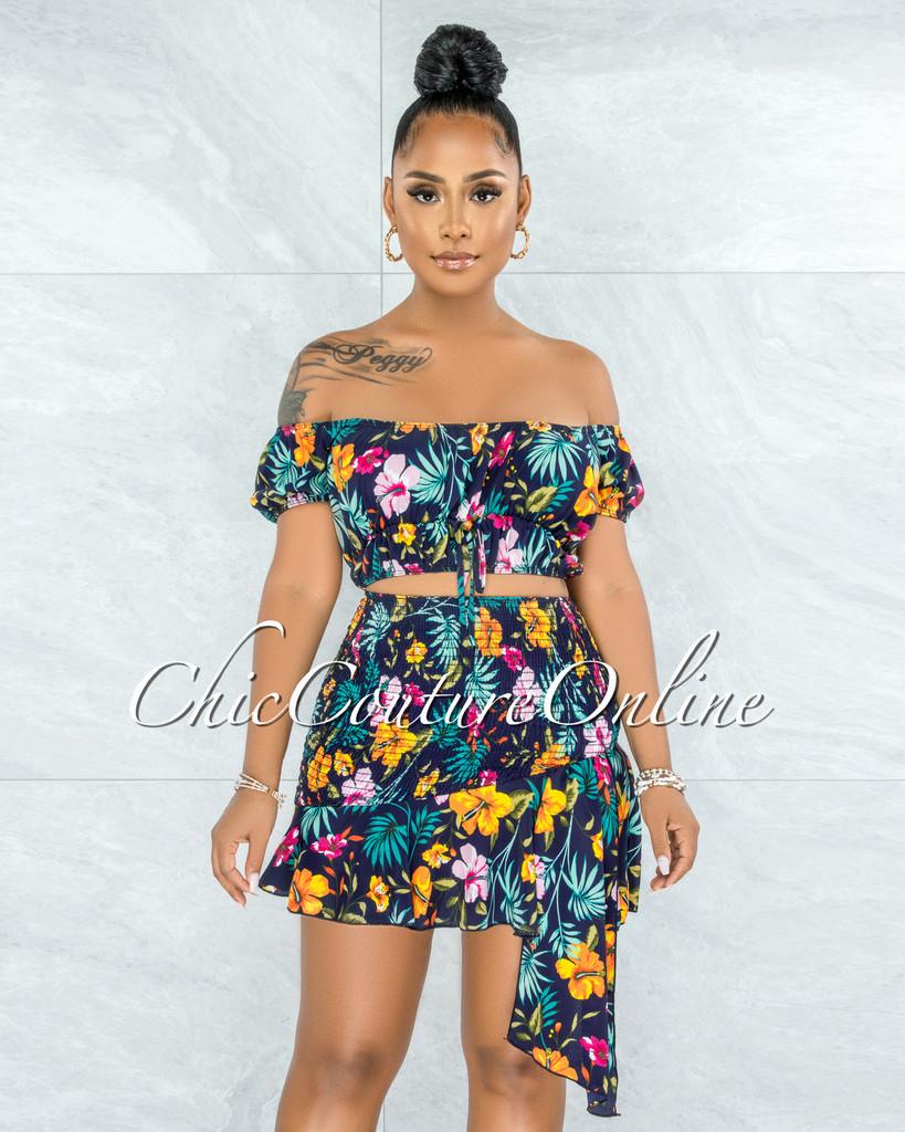 Soara Navy Blue Multi-Color Floral Print Smocked Skirt Set