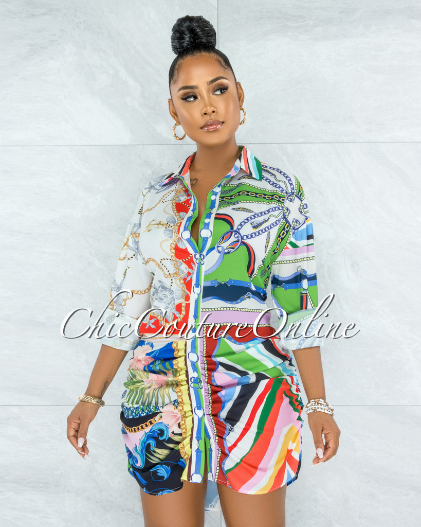 Humprie Ivory Multi-Color Print Buttons Drape Shirt Dress