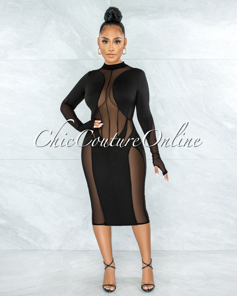 Tenesea Black Mesh Sheer Details Midi Dress