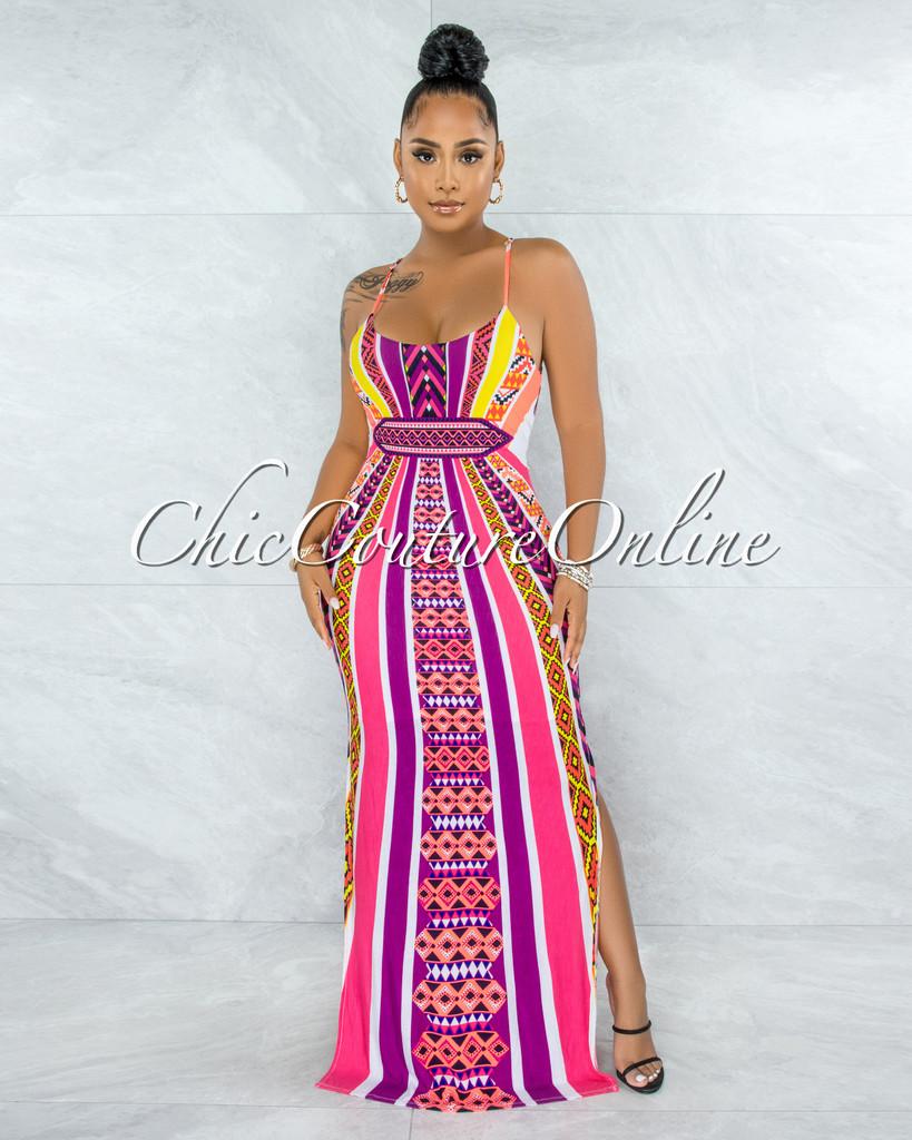 Yedda Pink Neon Print Criss-Cross Back Maxi Dress