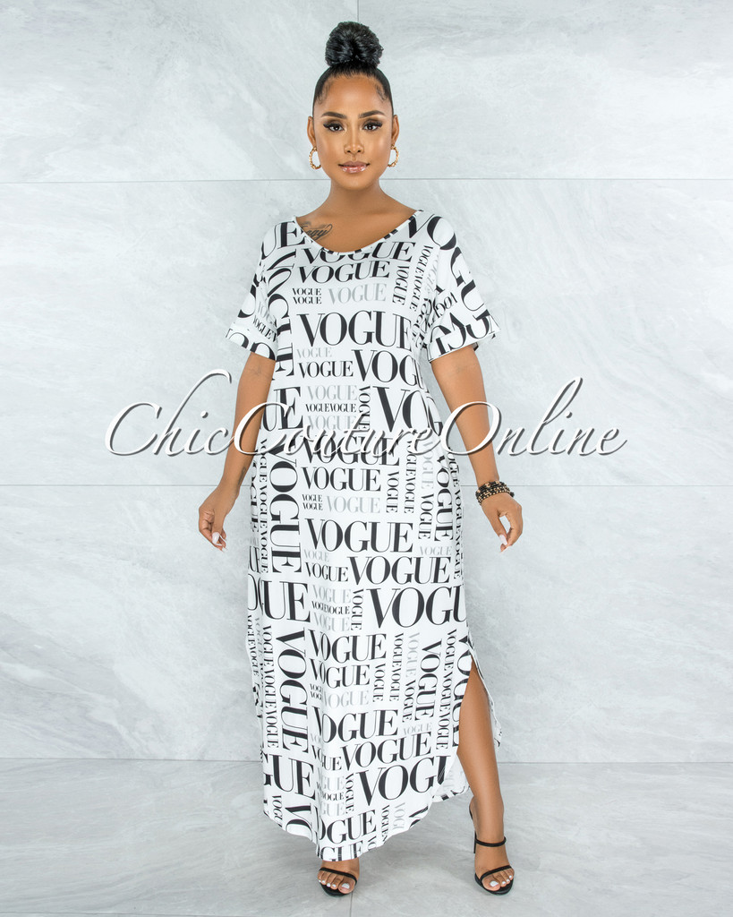 Carmine White Black 'VOGUE' Print Side Slits Shirt Dress