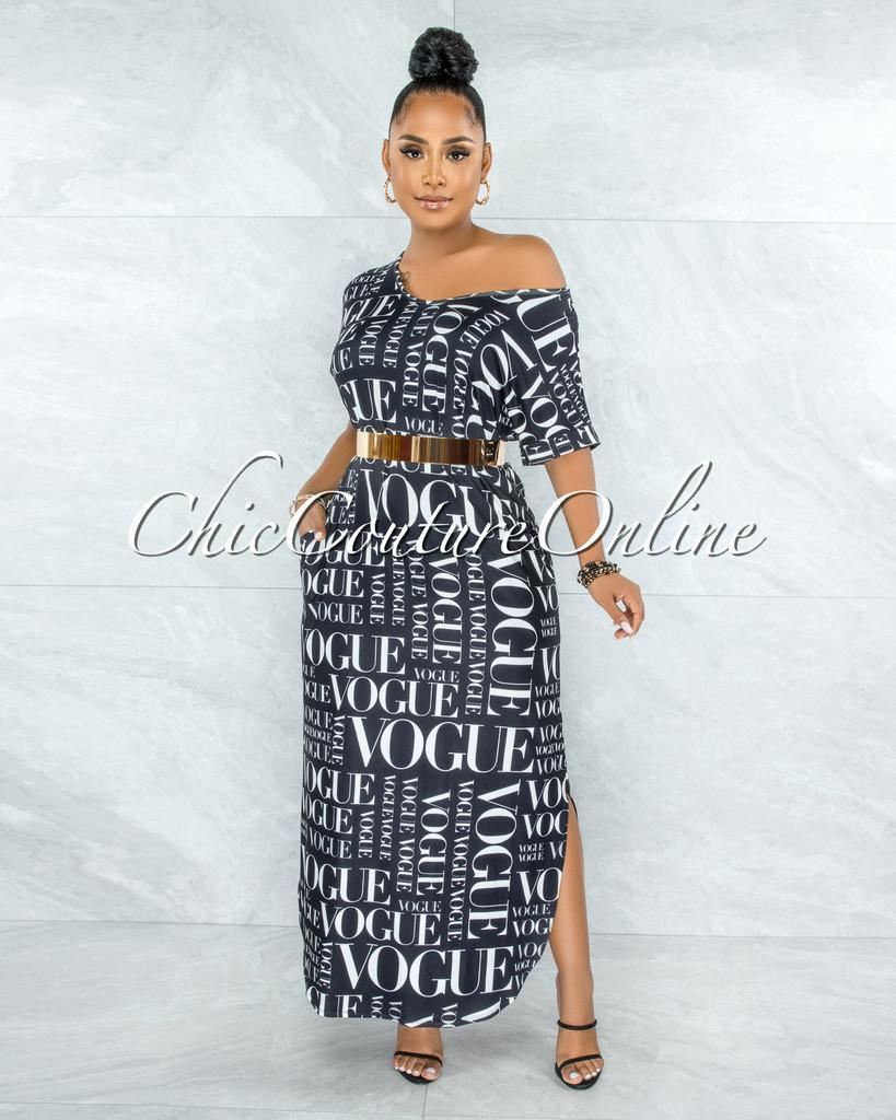Carmine Black White 'VOGUE' Print Side Slits Shirt Dress