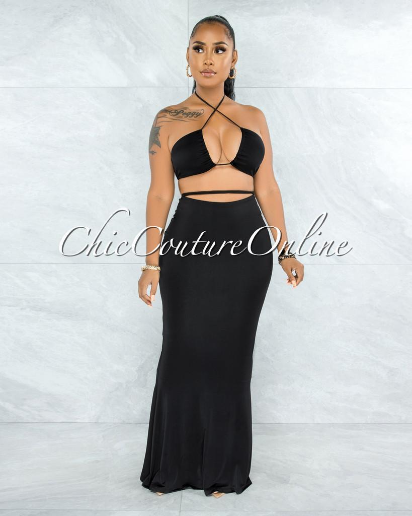 Odelita Black Multi-Way Crop Top & Maxi Skirt Set