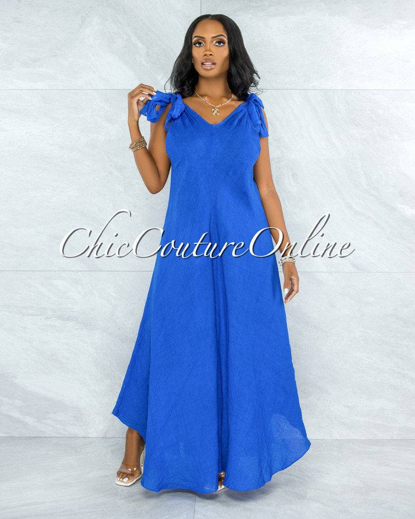 Natalie Royal Blue Shoulders Tie Flare Legs LINEN Jumpsuit