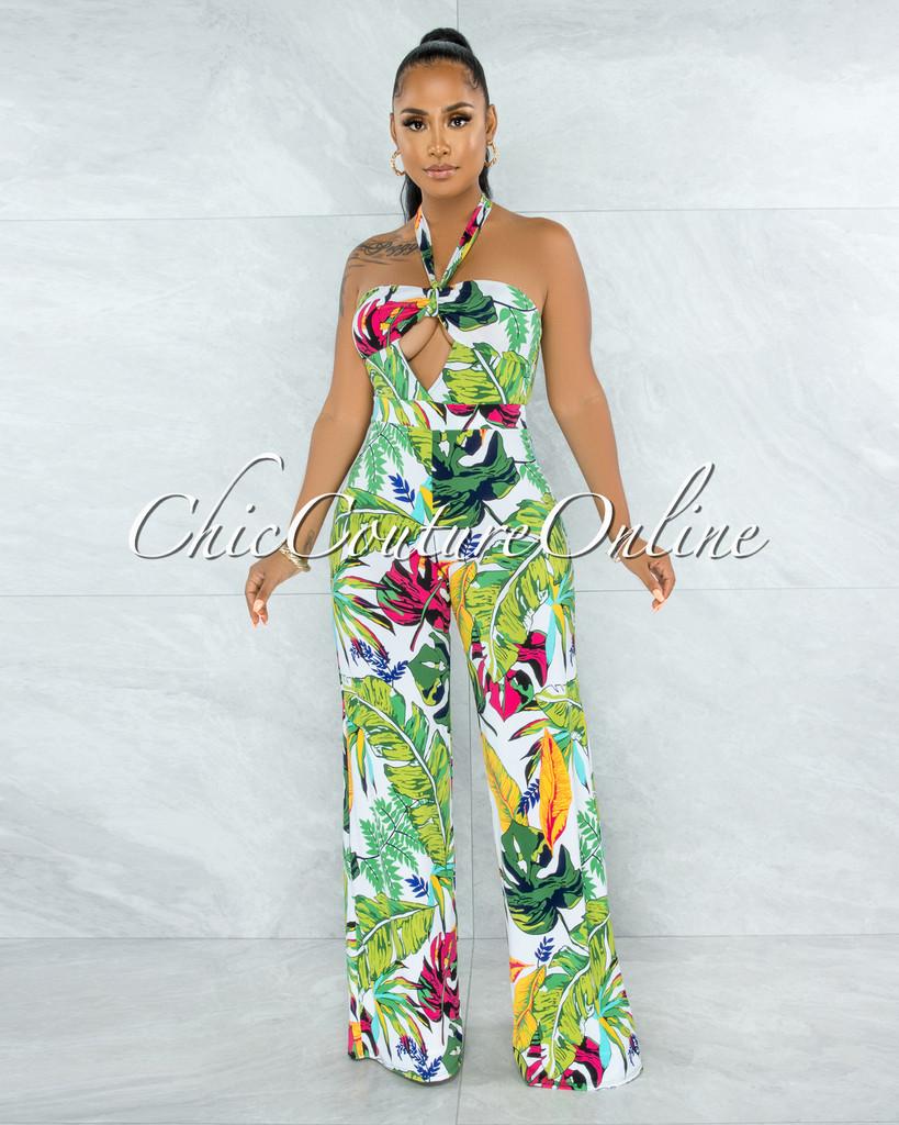 Harkin White Multi-Color Leaf Print Front Cut-Out Jumpsuit