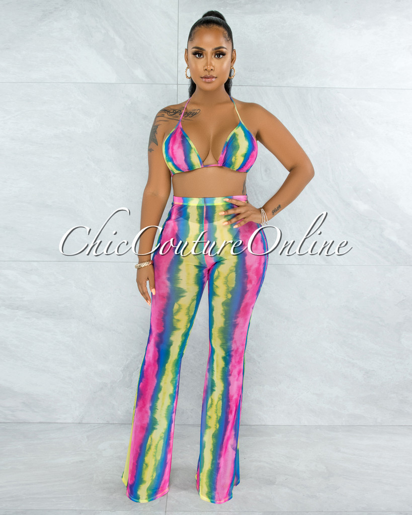 Ibrahim Rainbow Tie-Dye Mesh Two Piece Sheer Set