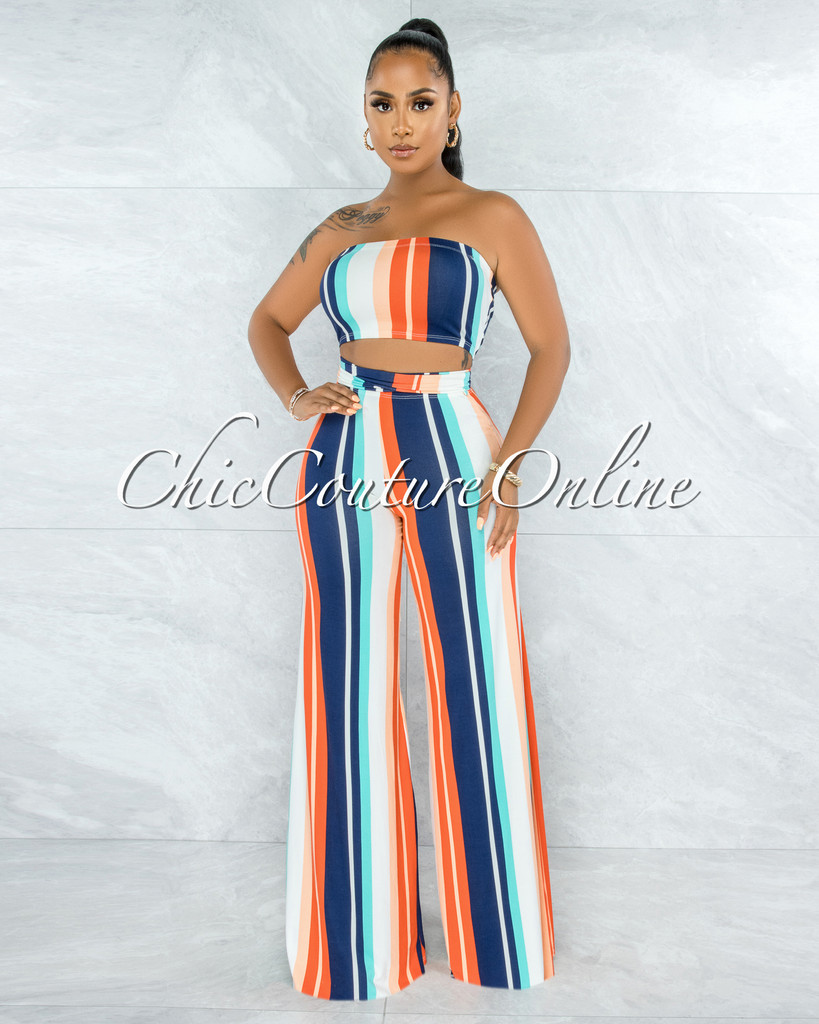 Lancelot Blue Orange Stripes Front Crop Top & Pants Set