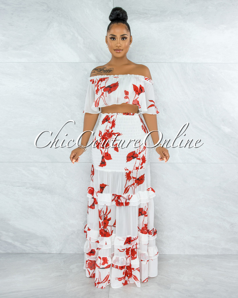 Blanche White Red  Floral Print Two Piece Skirt Set