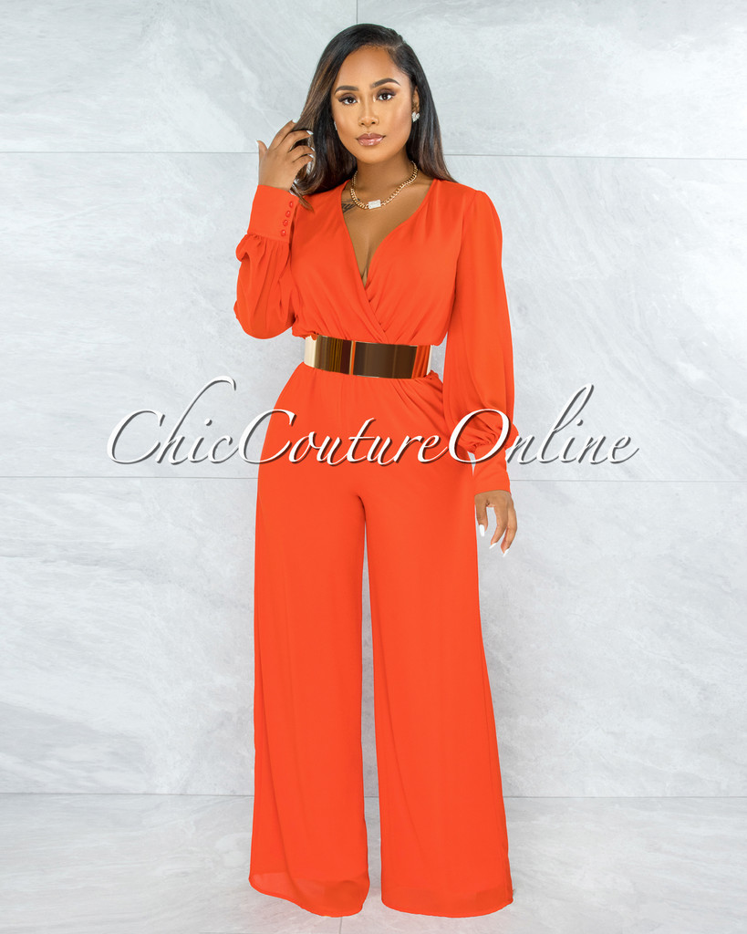 Yamie Coral Red Faux Wrap Belted Long Sleeves Jumpsuit