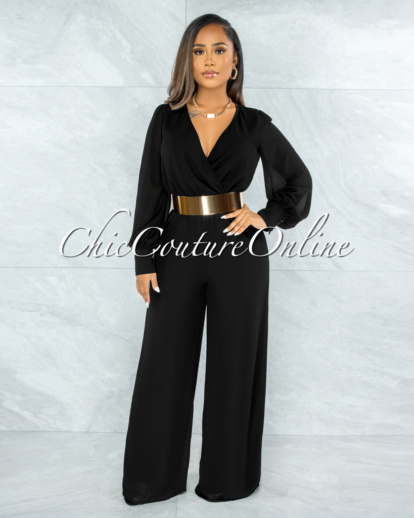 Yamie Black Faux Wrap Belted Long Sleeves Jumpsuit