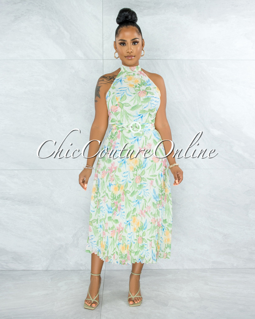 Norwell Ivory Multi Floral Matching Belt Pleated Midi Dress