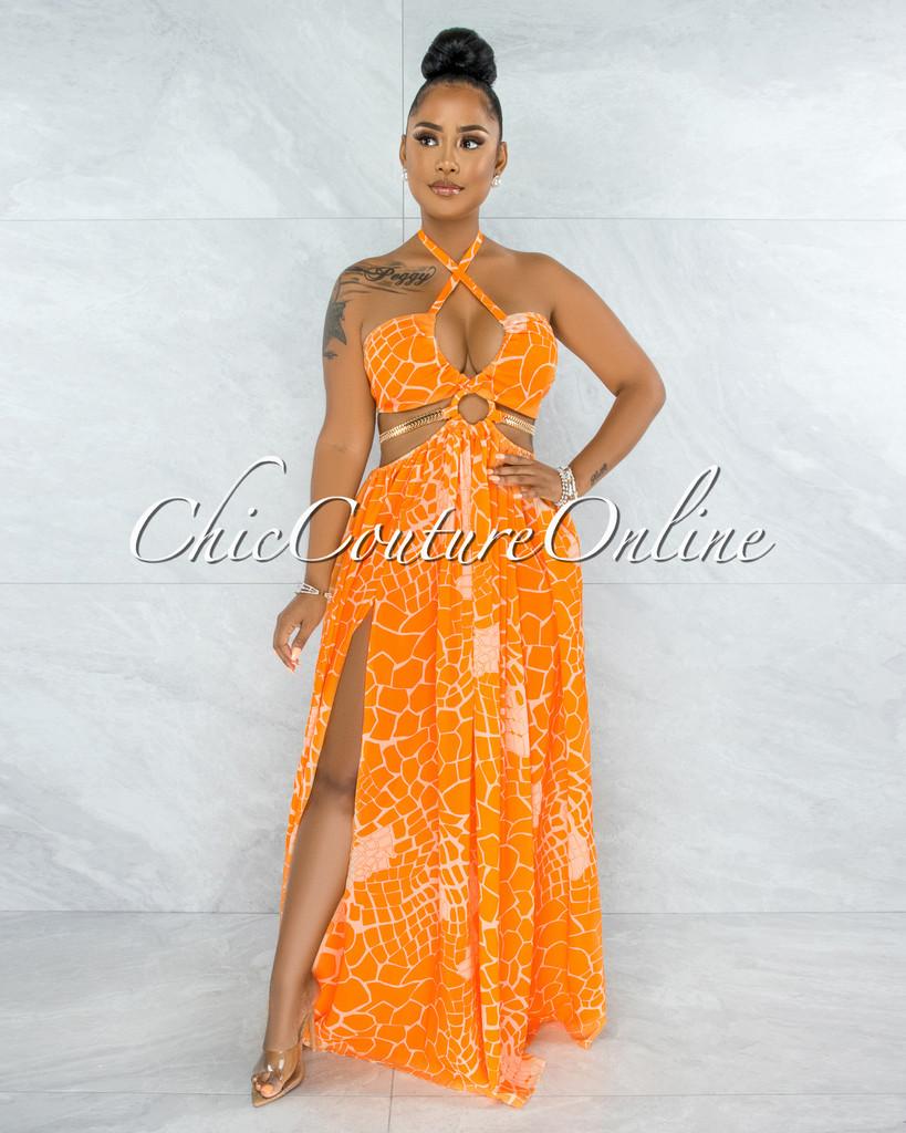 Odahna Orange Print Cut-Out Sides Gold Link Dress