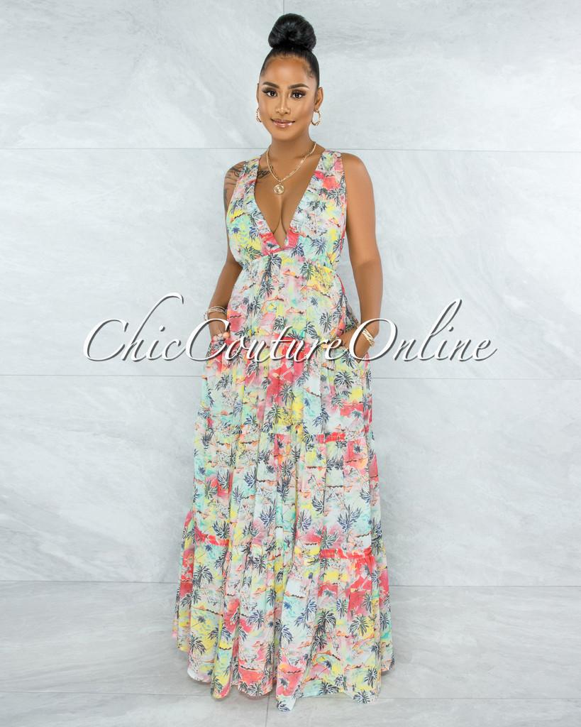 Kienna Multi Paradise Print Crossed Back Maxi Dress