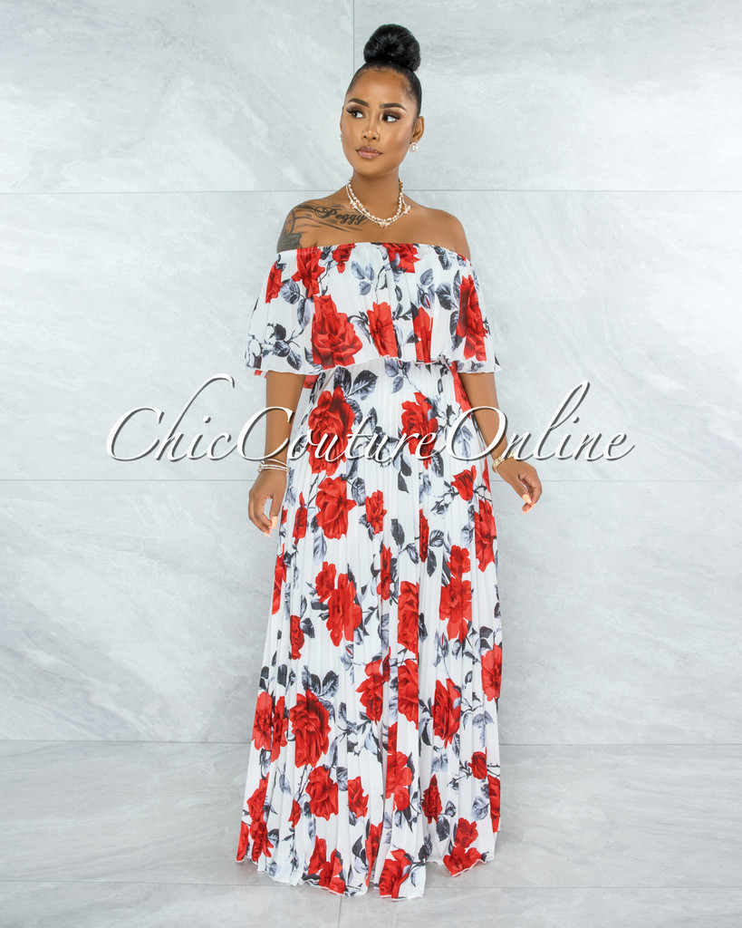 Rivera White Red Roses Pleated Off-The Shoulder Maxi Dress