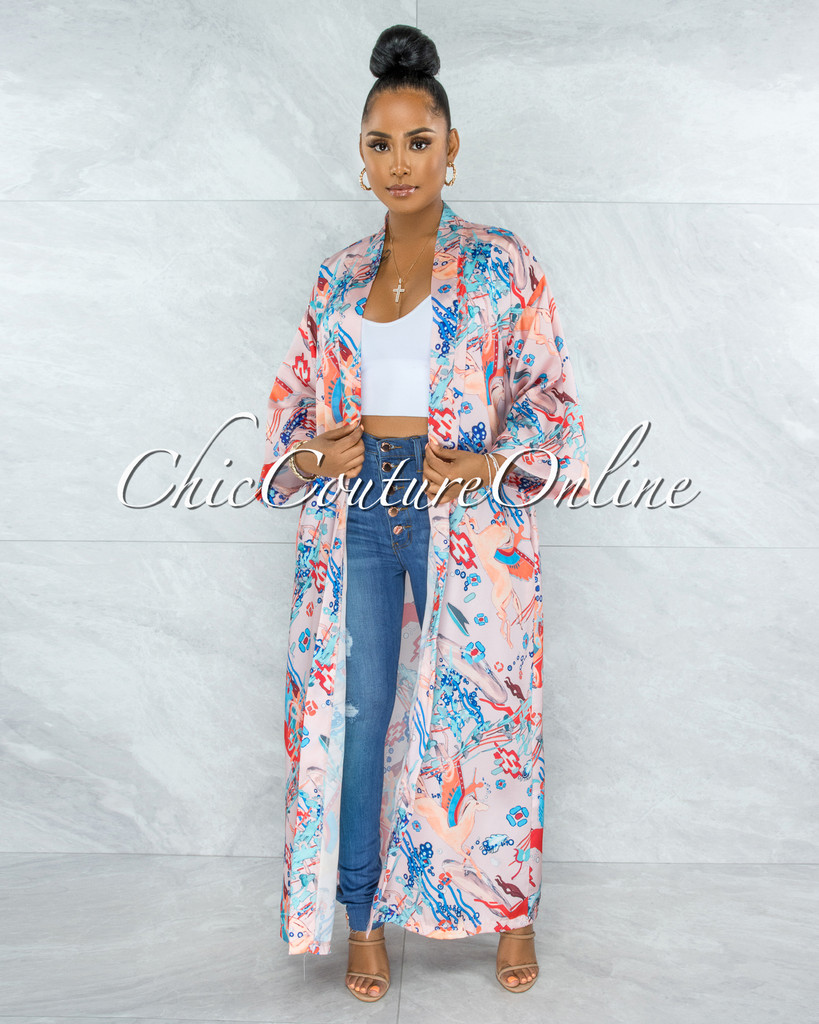 Warren Salmon Multi-Color Print Satin Luxe Duster