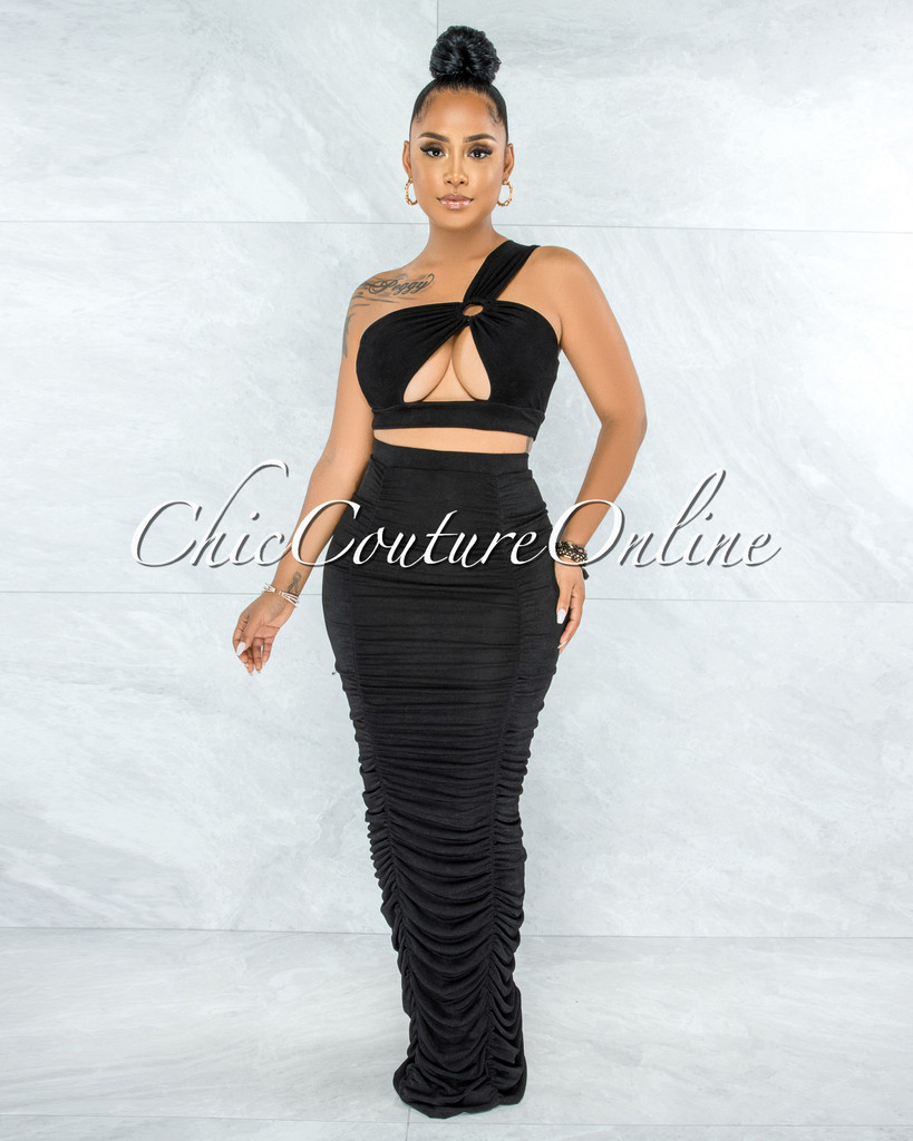 Morrison Black O-Ring Top & Pencil Ruched Maxi Skirt Set