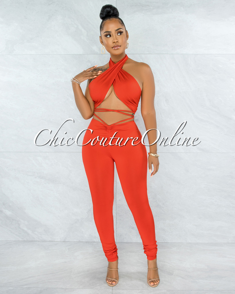 Regina Orange Tie Top & Ruched Leggings Multi-Way Set